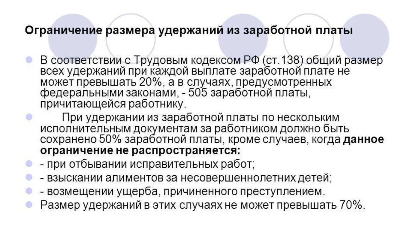 виды удержаний из заработной платы работников и их учет.шпаргалка
